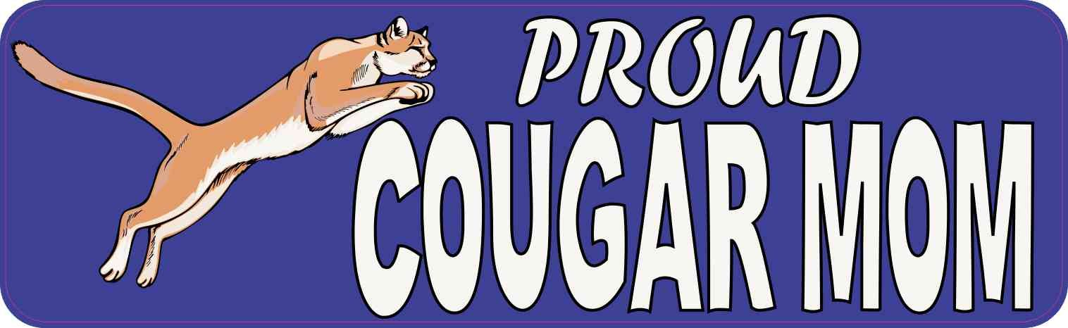 10in x 3in proud cougar mom bumper sticker school mascot vehicle decal