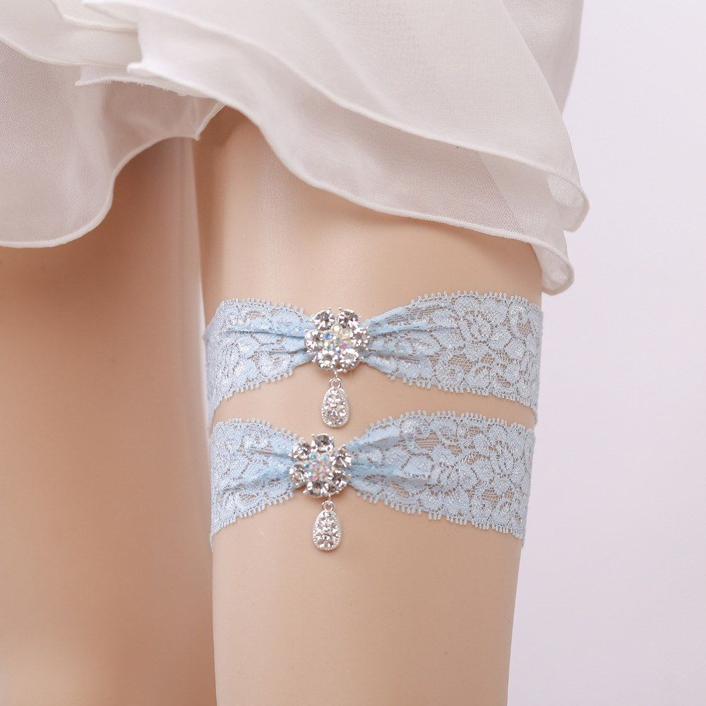 07b2aac2b Wedding Garter Rhinestone Lace Flower Blue Sexy Garters 2pcs Set For Women  Female Bride Thigh Ring Bridal Leg Garter 5328
