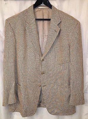 Ralph Lauren Size 46L Beige Silk Houndstooth Blazer Sport Coat Jacket Blue Label