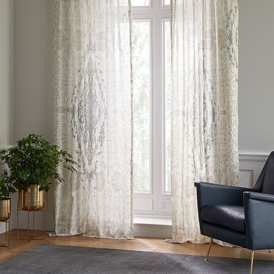 """Distressed Medallion Curtain, Dusty Blue, 48""""X84"""" At West"""