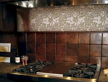 Hand-Hammered Copper Tiles Make Unique Kitchen Backsplash Â« Luxury Housing  Trends