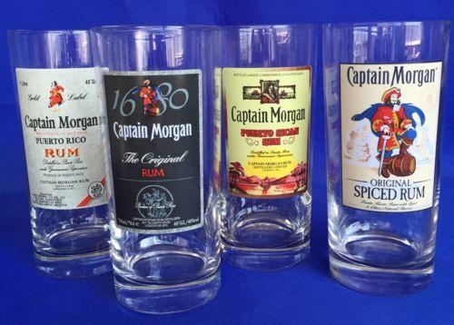 Captain Morgan Drinking Glasses Set Of 4 Rum 15 Ounce Tumbler Official Crew Gear Captain Morgan Drinking Glasses Rum