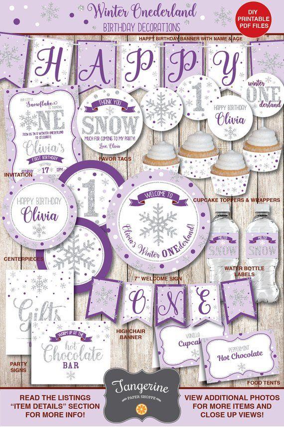Purple Silver Winter ONEderland Decorations First Birthday