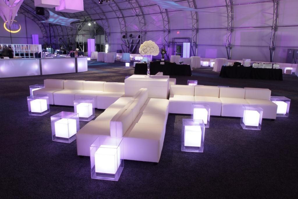 Function chairs and LED Light Cubes | Lounge party, Wedding ...