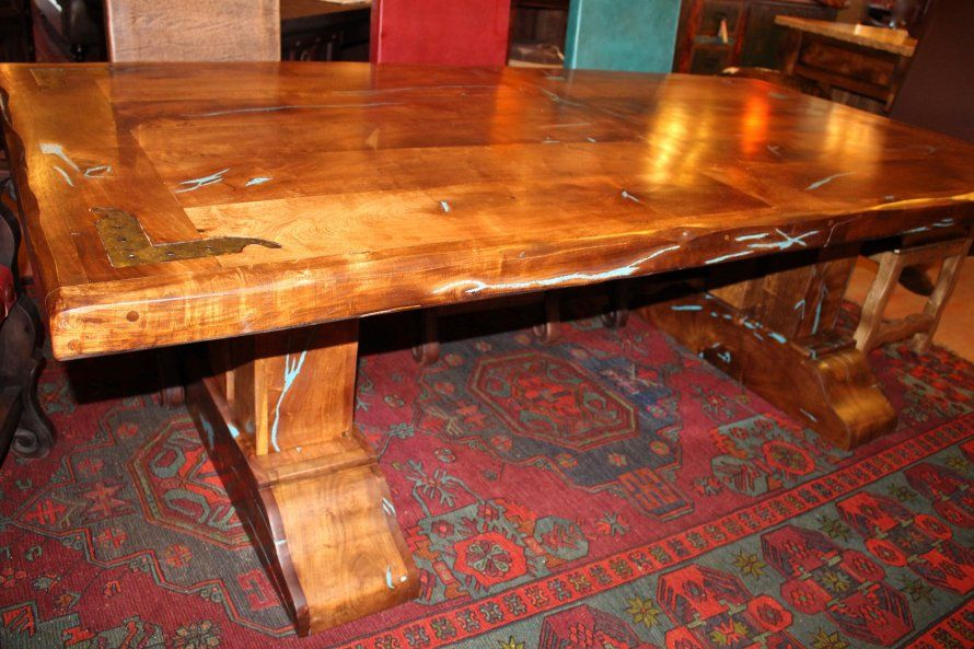 Hacienda Mesquite Inlay Table Mes 001 8ft W X 4ft D X 31 H