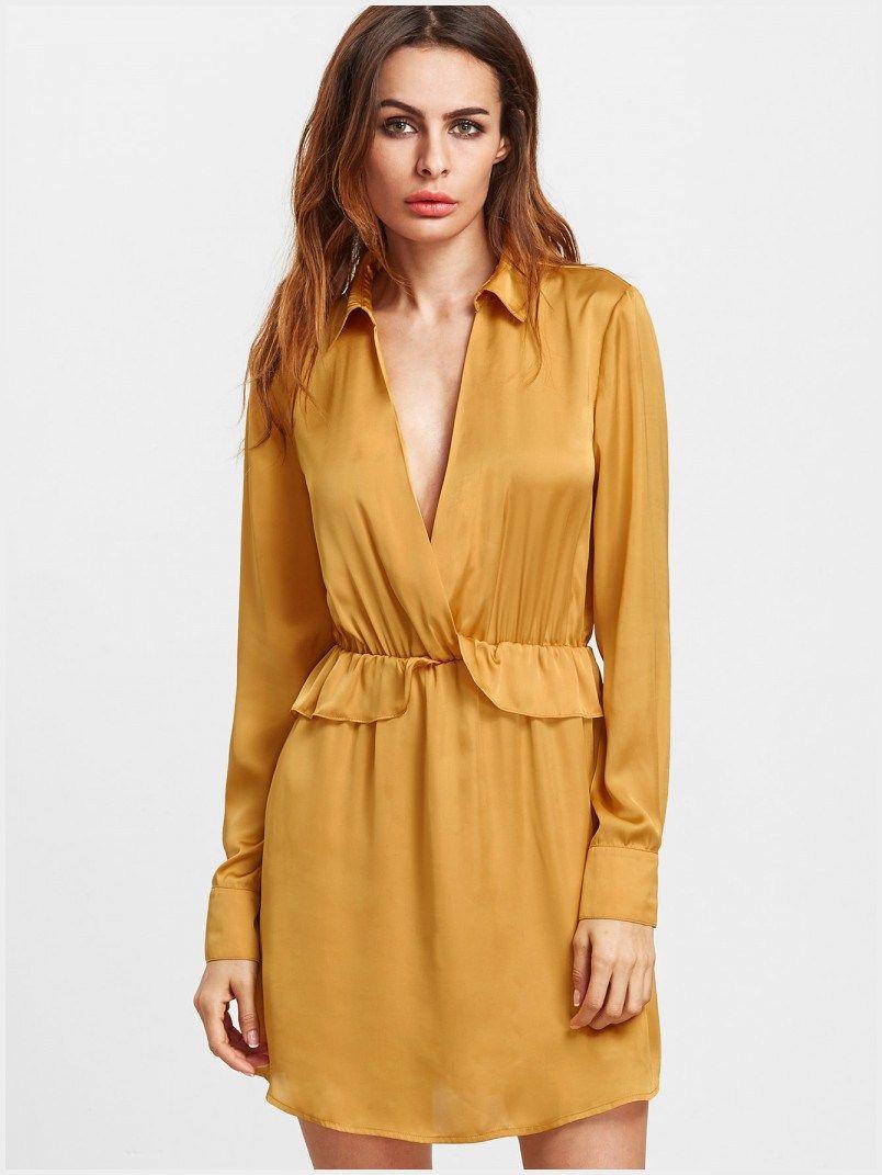 Yellow dress long sleeve   Luxurious Collared Shirt Dress  Clothing Catalog  Pinterest