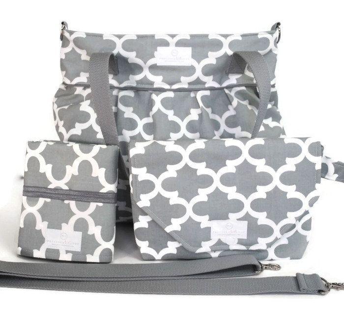 Gray Fynn Diaper Bag Gift Set - Diaper Bag - Gray Fynn Diaper Clutch Set - Messenger Strap
