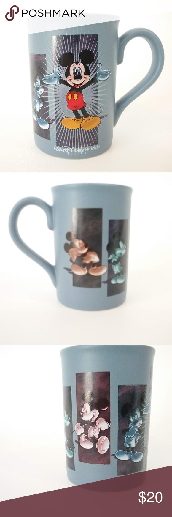 Walt Disney World Mickey Mouse Coffee Mug Blue Very good used condition. Slight discoloration from coffee/tea in the bottom of the mug. Smoke free home. No crazing or cracks. Disney Dining Drinkware #disneycoffeemugs