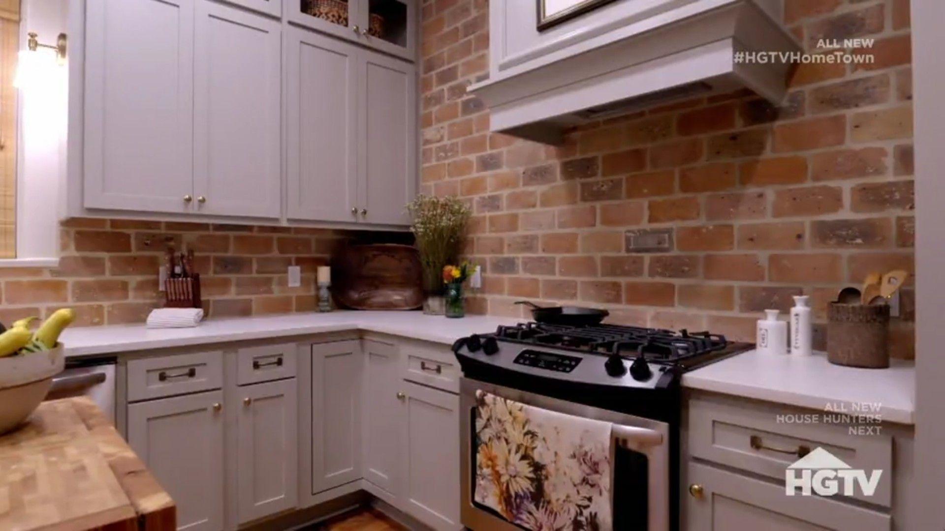 Hgtv Hometown Season 2 Episode 8 Kitchen With Brick Back Splash Hgtv Kitchens Kitchen Remodel Countertops Brick Kitchen
