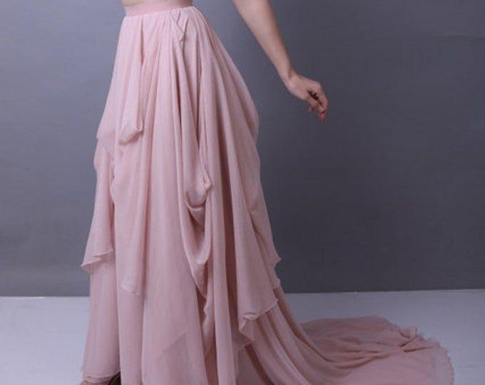 Asymmetrical bridal skirt, winter melon over champagne chiffon maxi skirt, wedding dress #wintermelon