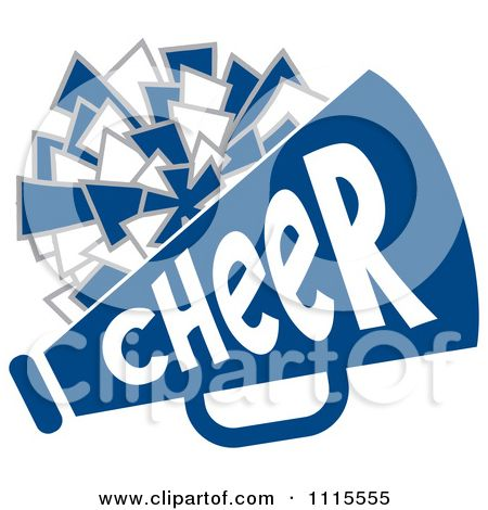 Cheerleader Backgrounds Clipart Cheerleader Pom Pom And Megaphone In Blue Tones Royalty Free Cheer Clipart Free Vector Illustration Cheerleading