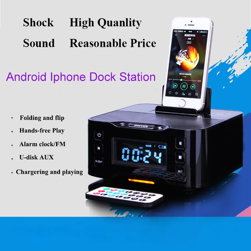 A9 Lcd Digital Fm Radio Alarm Clock Bluetooth Dock Station For Apple