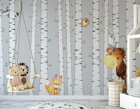 Birch Tree With Woodland Creatures Wallpaper Removable Etsy Tree Mural Peel And Stick Wallpaper Wall Murals