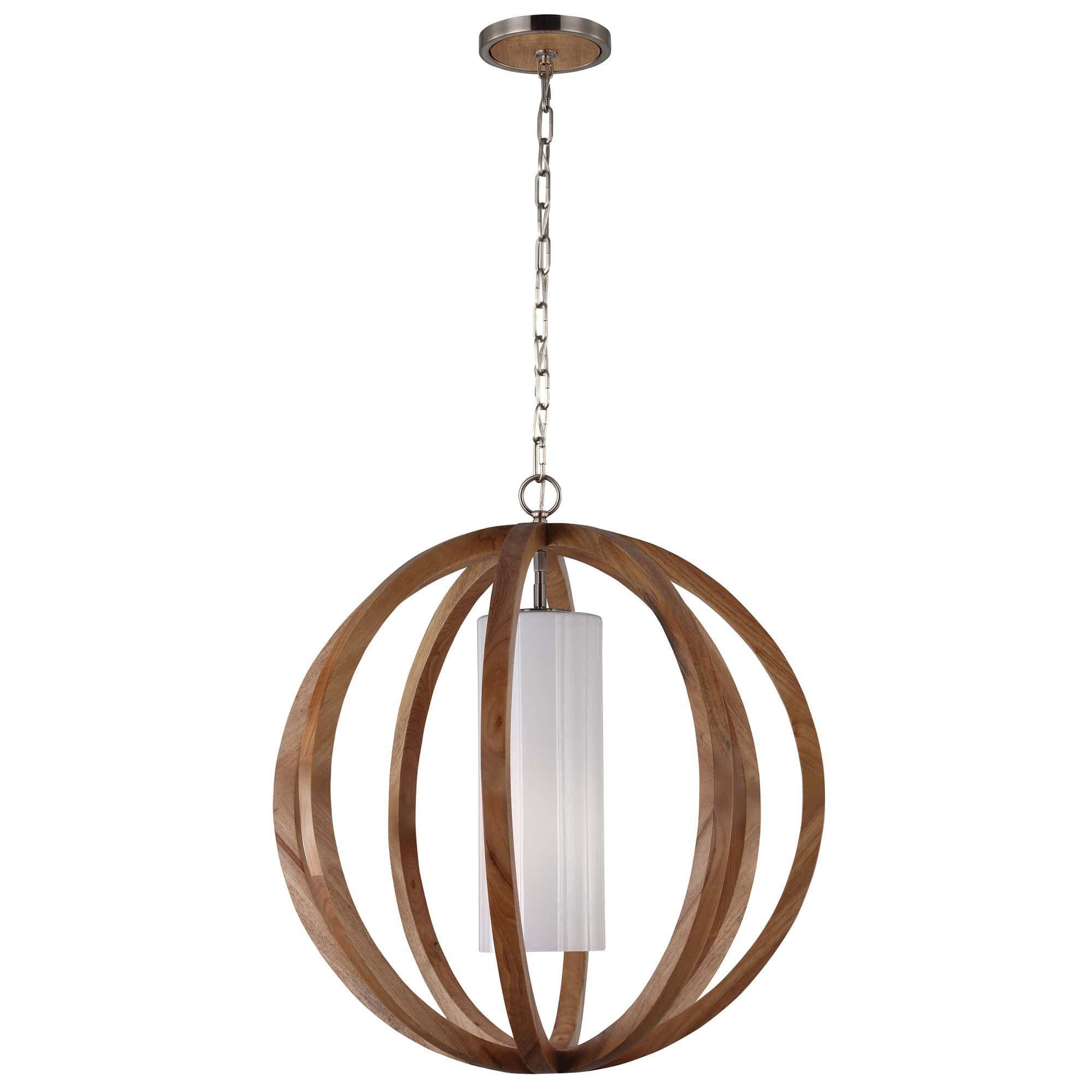 feiss allier 1 light wood steel globe pendant light from chandelier shack - Globe Pendant Light