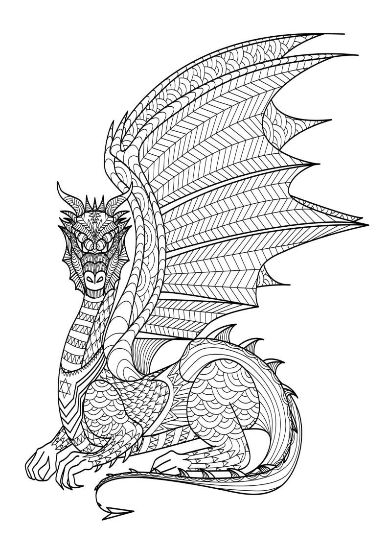 - Mindfulness Coloring Page - Dragon (With Images) Dragon Coloring