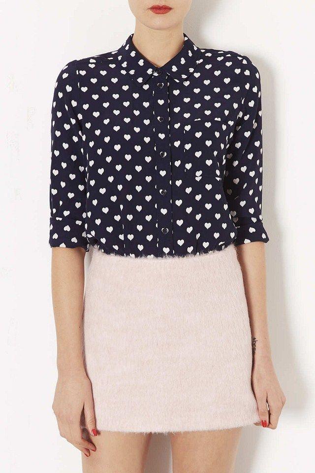 b4b25efa971724 Womens European Fashion Collar Heart Print Long Sleeve Shirts Blouse ...
