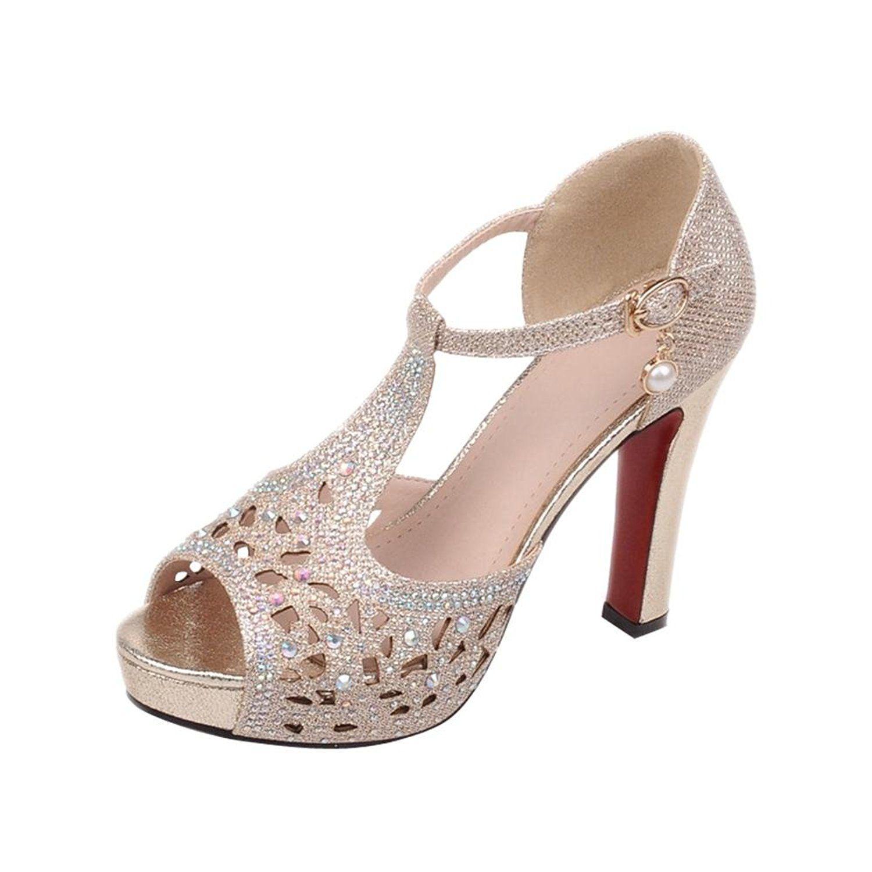 Carolbar Women's Shiny Rhinestones Evening Party Buckle T-Strap Peep Toe  High Heel Dress Sandals