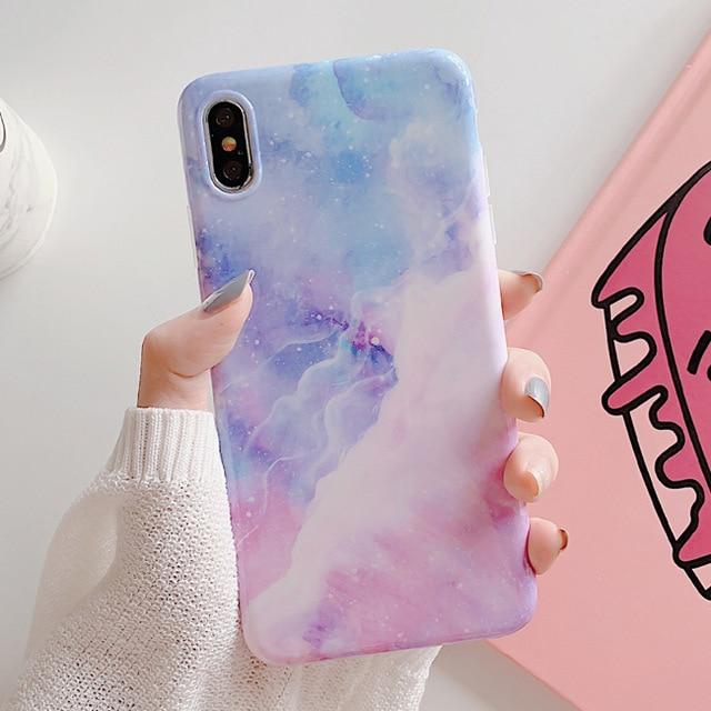 Candy Starry Sky Marble Cute Phone Case For Iphone 7 8 Plus For Iphone X Xs Max Xr 6 6s 4k Iphone Cases Cute Marble Phone Case Iphone Pink Phone Cases