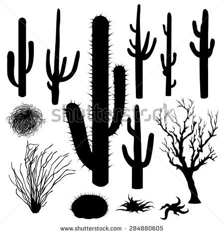 Vector Set Of Black Silhouettes Of Cacti And Other Desert Plants Cactus Silhouette Silhouette Painting Cactus Drawing