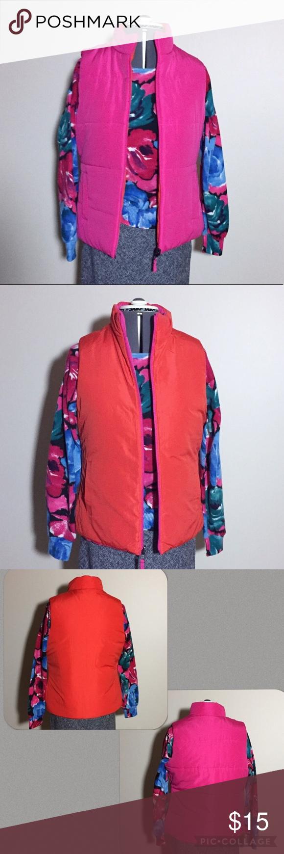 Merona Pink & Orange Reversible Puffer Vest Merona Orange