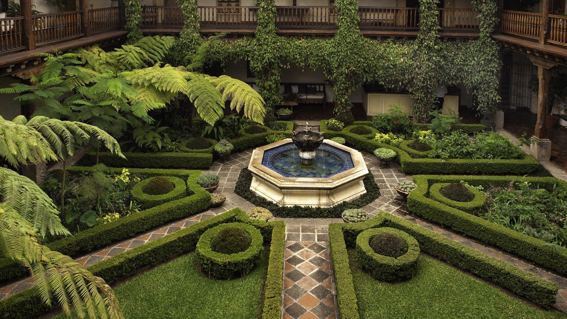 garden courtyard hotel bushes fountain geometric HD Wallpapersjpg