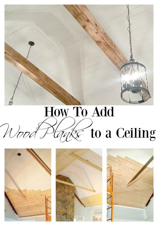How to plank your ceiling wood planks plank and ceilings for Faux wood ceiling planks