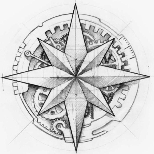 Clockwork Compass Steampunk Tattoo Compass Tattoo Steampunk Tattoo Design