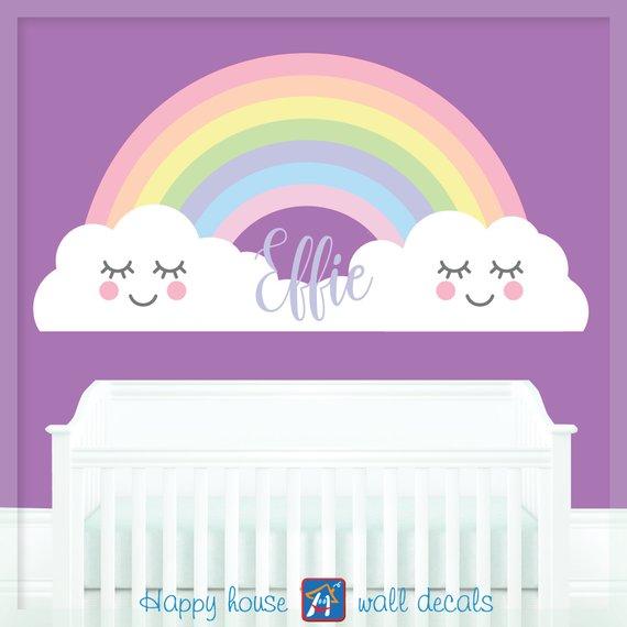 rainbow wall decal for kids - pastel baby rainbow decor - rainbow