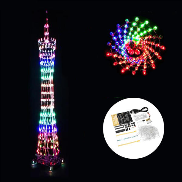 Diy Wifi App Version Bluetooth Colorful Canton Tower Led Lighting Cube Music Spectrum Electronic Kit Electronic Kits Cube Music Canton Tower