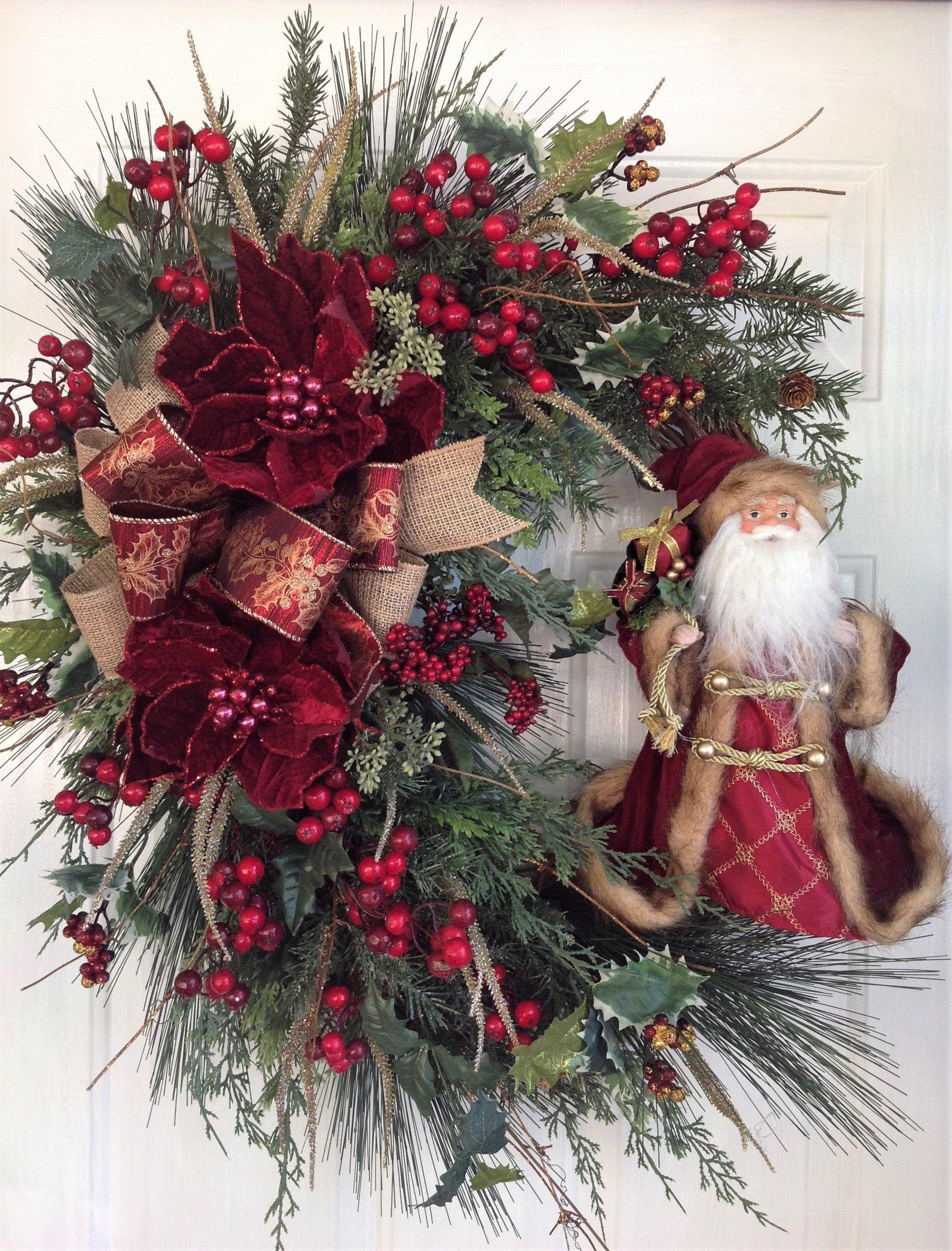 Photo of Christmas Wreath for Front Door, Santa Door Hanger, Rustic Christmas Wreath, Vintage Santa Wreath, Old World Santa Wreath, Holiday Wreath