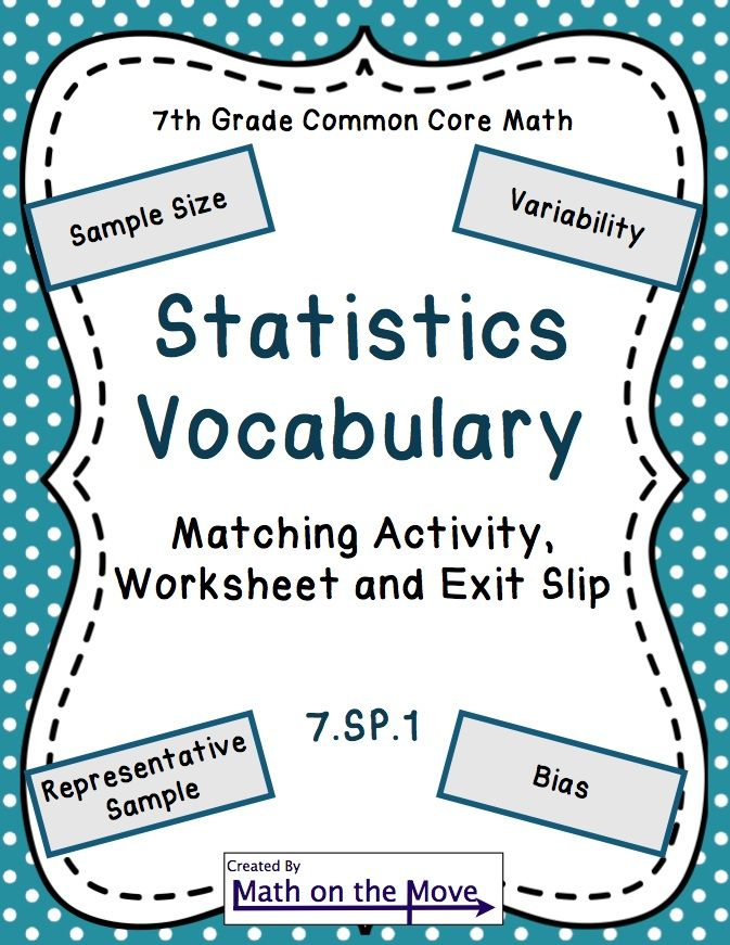 Statistics Vocabulary Matching Activity Worksheet And Assessment
