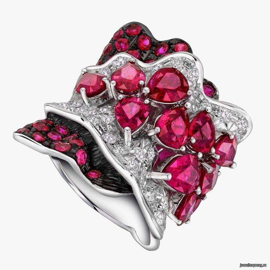 Кольцо larry jewelry с рубинами и бриллиантами lorraine schwartz