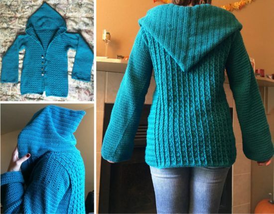 ff0e2415f Crochet Hooded Sweater Free Pattern Ideas