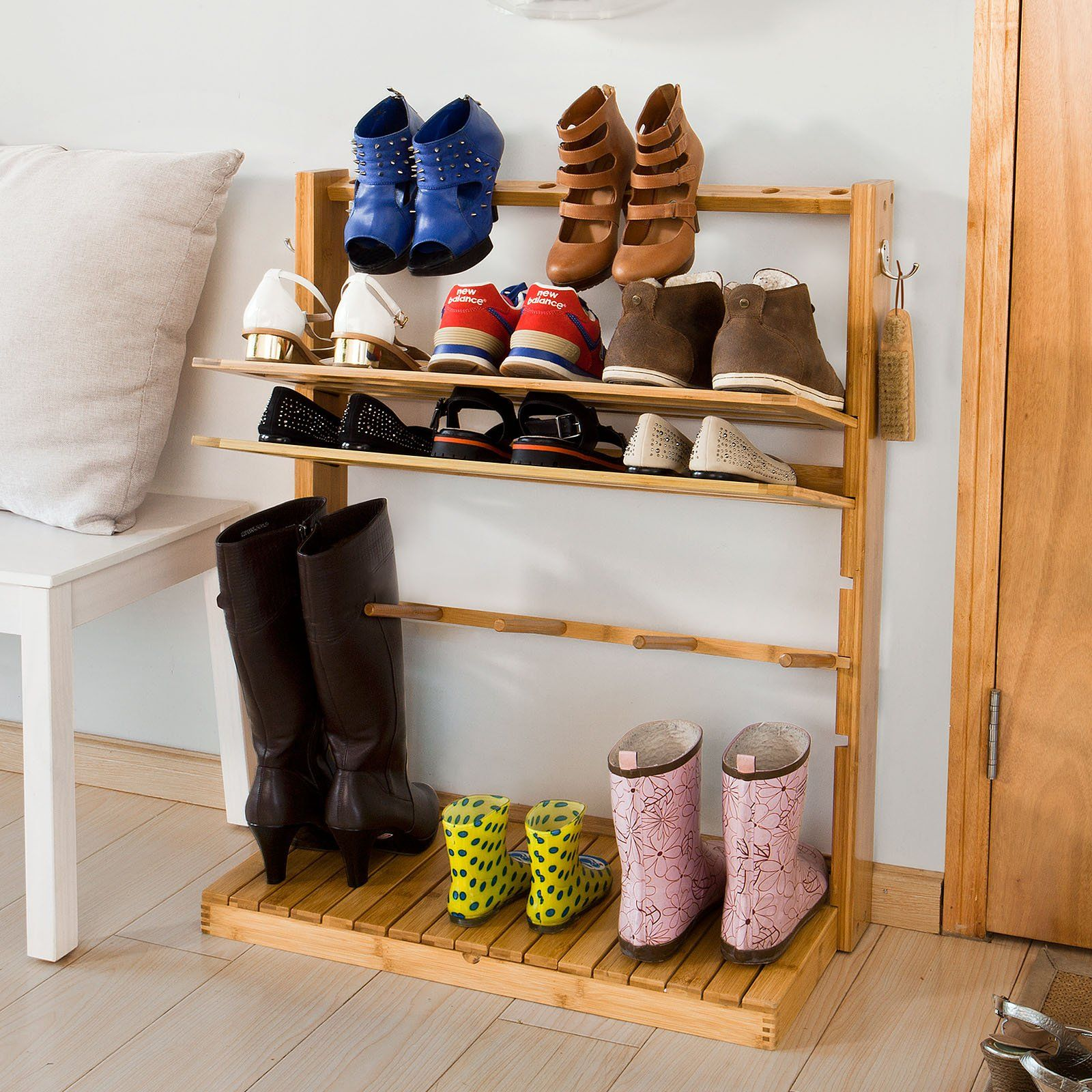 A Nifty Bamboo Shoe Rack With Adjustable Shelves, Space For Tall Boots,  Provision For High Heels And A Concealed Storage Compartment.