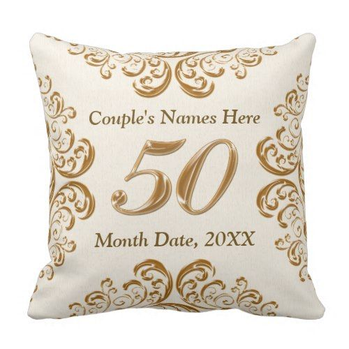 Personalized 50th Anniversary Gifts Pillow Zazzle Com 50th Anniversary Gifts Anniversary Gifts Wedding Anniversary Gifts