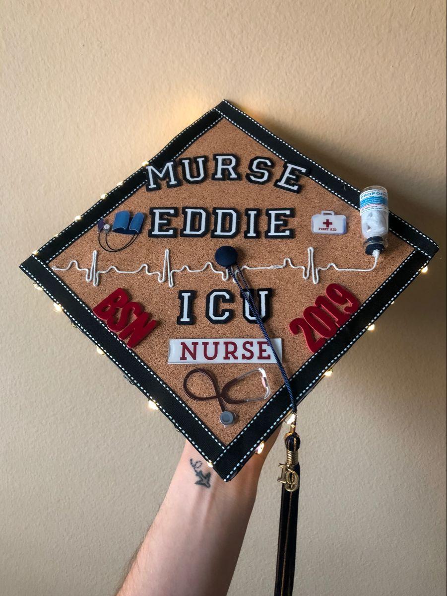 Icu Nurse Graduation Cap With Lights Nurse Graduation Cap Icu Nurse Graduation Cap Icu Nursing