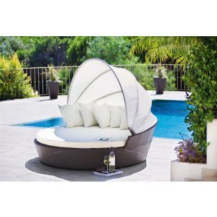 rattan patio day bed with canopy brown express delivery at argosco