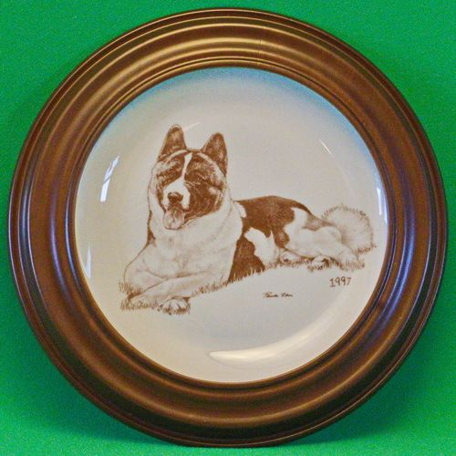 1997 Laurelwood Limited Edition (150) Akita Dog Breed Collector Plate With Frame