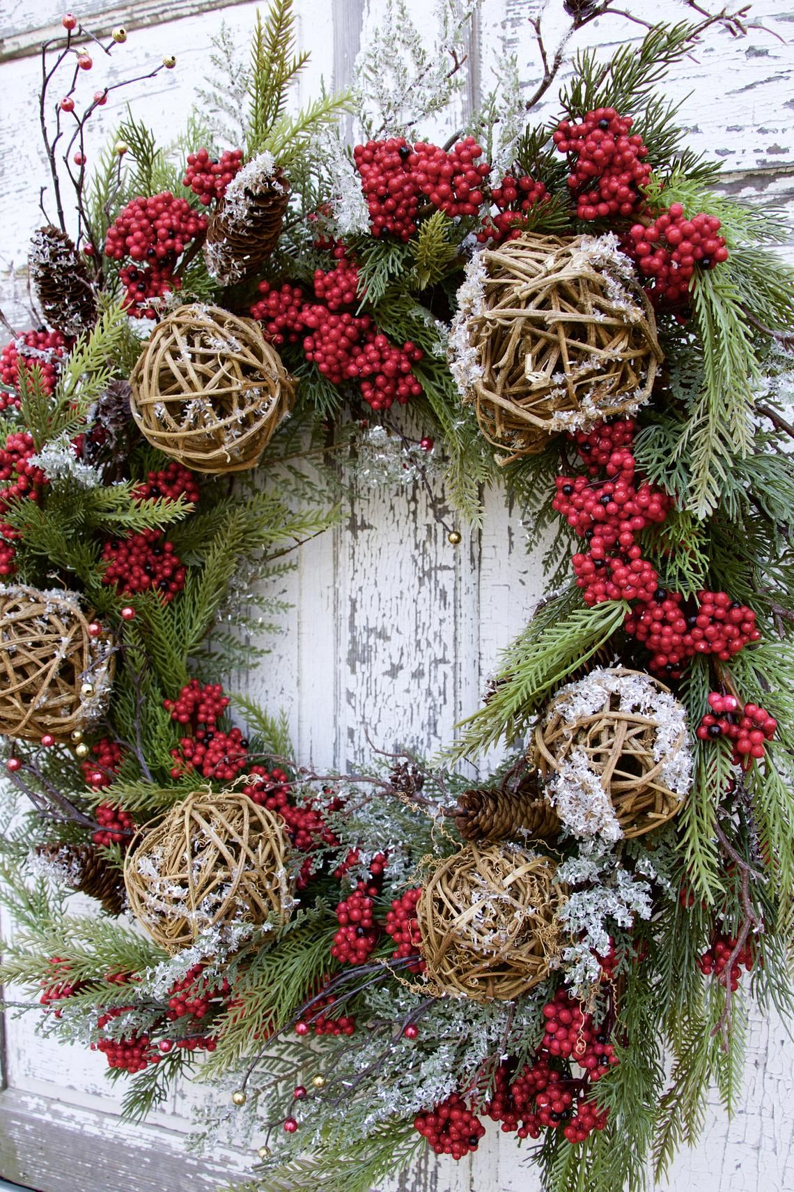 Red Berry Pine Christmas Wreath Large Christmas Wreath