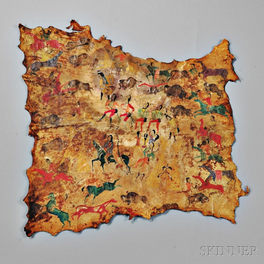 Shoshoni painted hide attributed to cadsi cody