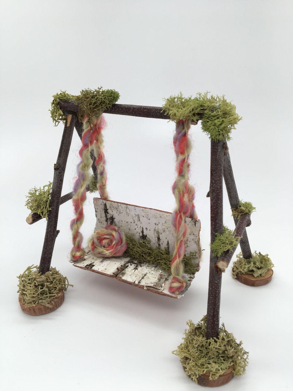 Fairy garden bench swing fairygarden fairygardenideas fairies