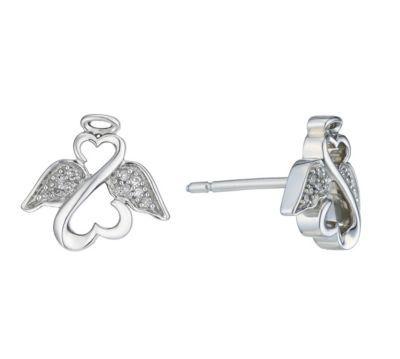 Jewlery Open Hearts Angels By Jane Seymour Silver Diamond Earrings