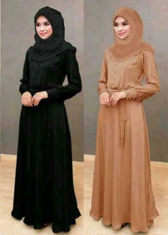 Gamis Hitam Elegan Gamis And Hijab Dresses Hijab Fashion