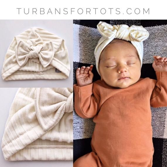 Ivory Ribbed Fuzzy   (sweater knit) baby turban hat with -Flat-bow ... ae02ded84d77
