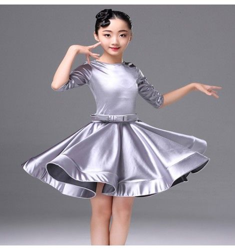 df309e0ebe26 Blue child girl latino dancing kids costume latin salsa dress for ...