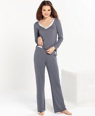 8bf65de7f1 Calvin Klein Essentials Top and Pajama Pants - Lingerie - Women - Macy s   sleepwear  PJs  pajamas
