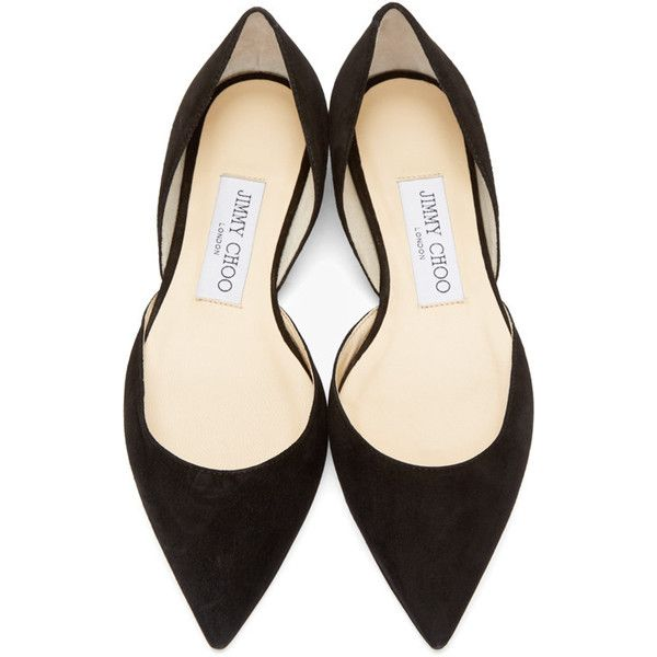 Jimmy Choo Black Suede Darylin DOrsay Flats ($525) ❤ liked on Polyvore featuring shoes, flats, flat shoes, black flats, d'orsay flats, pointy-toe flats and d'orsay shoes