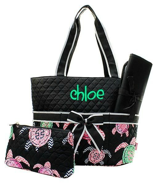 588a4b68ec Personalized Turtle Black Diaper Bag Quilted Baby Tote - Gifts Happen Here  - 1