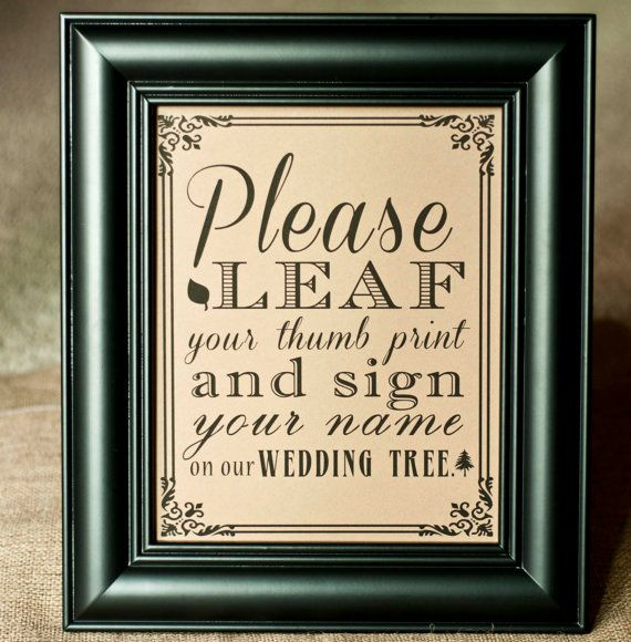 Thumbprint Tree Guest Sign: 8 X 10 PRINTED Please Leaf Leave Your Thumbprint And Sign