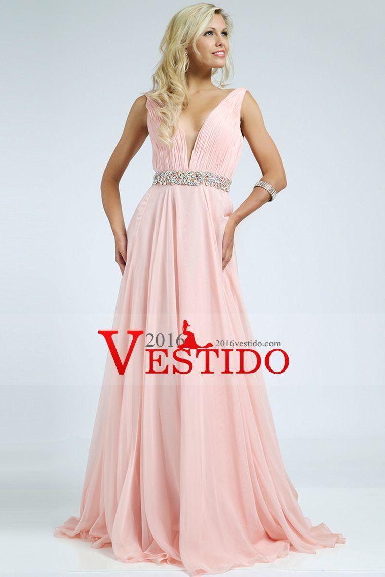 2016 V-cuello plisado blusa una línea de gasa vestidos de baile ...